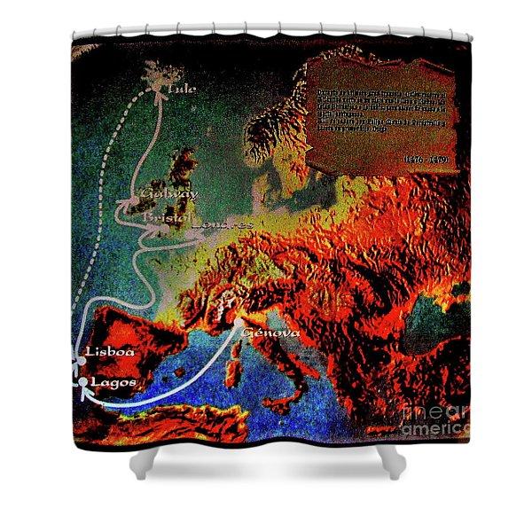 1478 Even Columbus Sailed Along The Wild Atlantic Way. Shower Curtain
