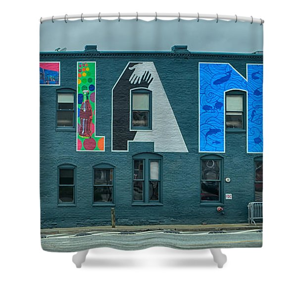 Shower Curtain featuring the photograph Atlanta Downtown Skyline Scenes In January On Cloudy Day by Alex Grichenko