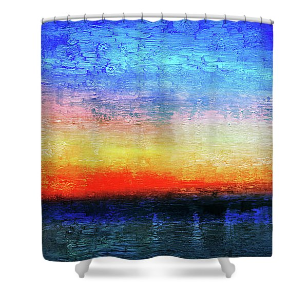 15a Abstract Seascape Sunrise Painting Digital Shower Curtain