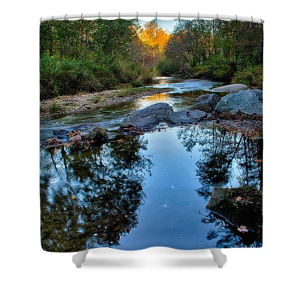 Shower Curtain featuring the photograph Stone Mountain North Carolina Scenery During Autumn Season by Alex Grichenko
