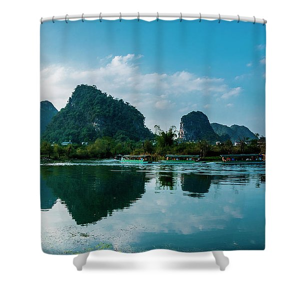 The Karst Mountains And River Scenery Shower Curtain