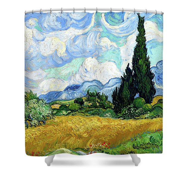 Wheat Field With Cypresses Shower Curtain
