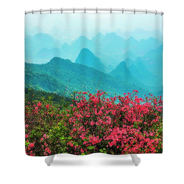 Blossoming Azalea And Mountain Scenery Shower Curtain