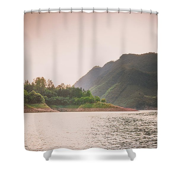 The Mountains And Lake Scenery In Sunset Shower Curtain