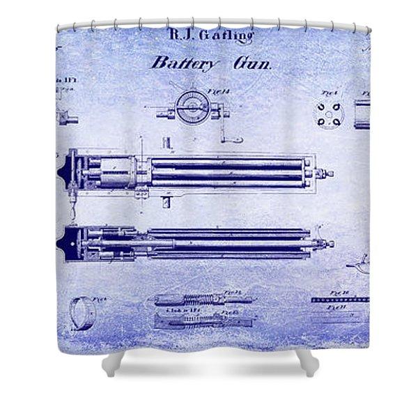 1865 Gatling Gun Blueprint Shower Curtain