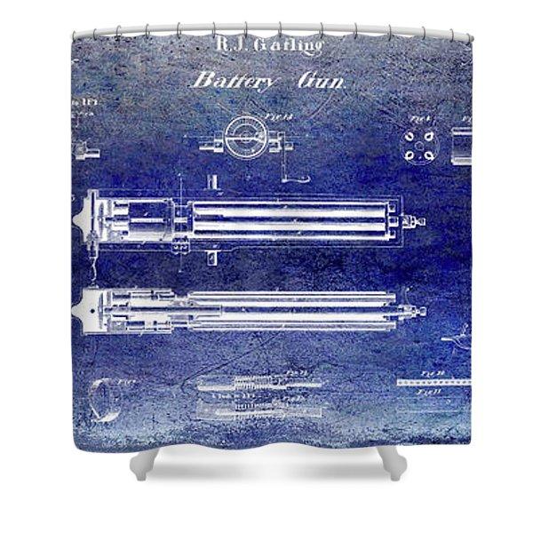 1865 Gatling Gun Patent Shower Curtain