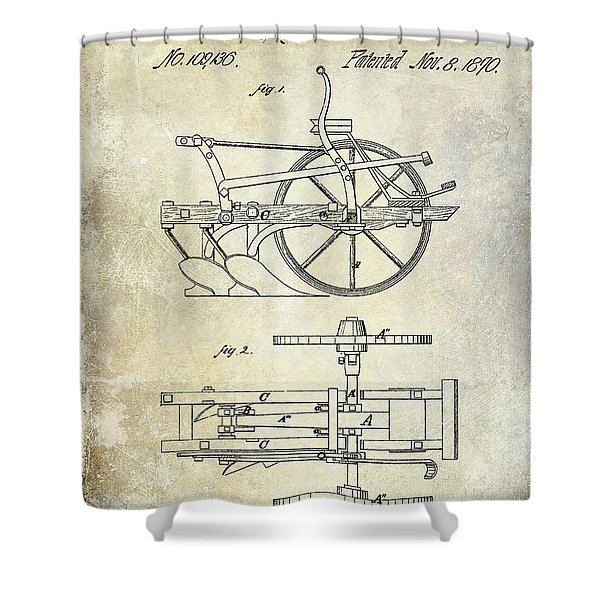 1870 Plow Patent Shower Curtain