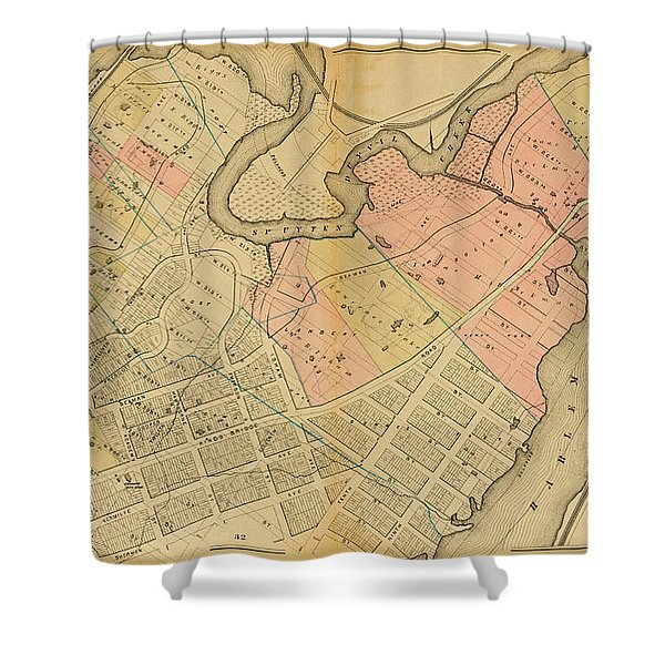 1879 Inwood Map  Shower Curtain