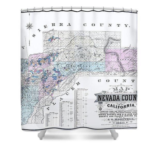 1880 Nevada County Mining Claim Map Shower Curtain