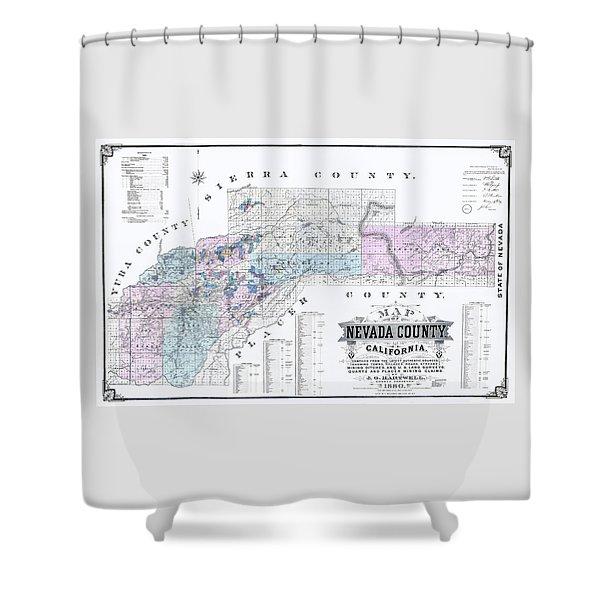 1880 Nevada County Mining Claim Map Shower Curtain