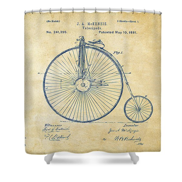 1881 Velocipede Bicycle Patent Artwork - Vintage Shower Curtain