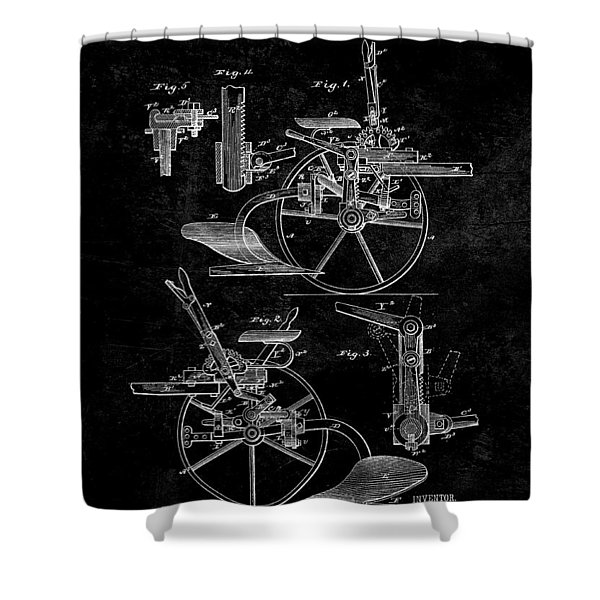 1882 Sulky Plow Patent Shower Curtain