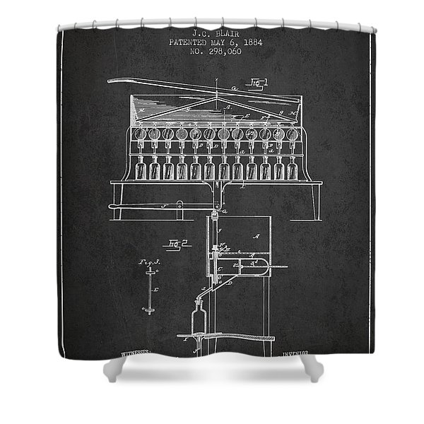 1884 Bottling Machine Patent - Charcoal Shower Curtain
