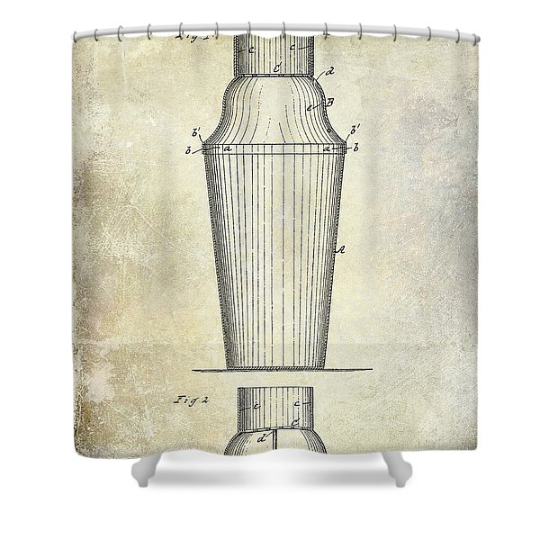 1884 Drink Shaker Patent Shower Curtain