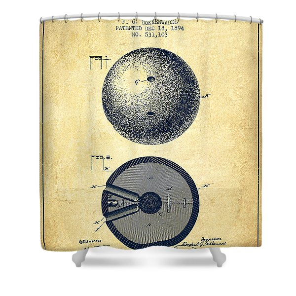 1894 Bowling Ball Patent - Vintage Shower Curtain