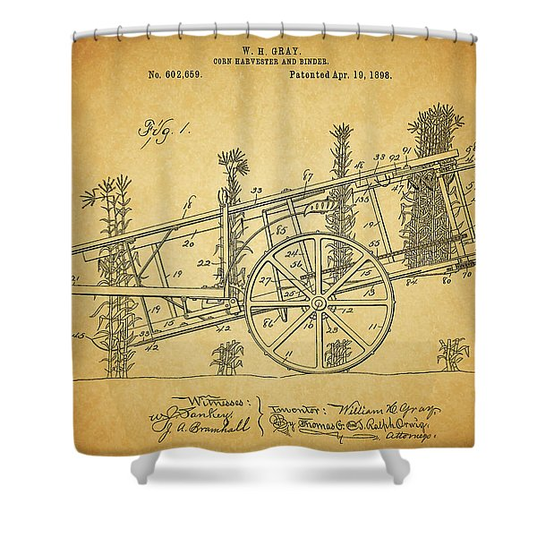 1898 Corn Harvester Patent Shower Curtain