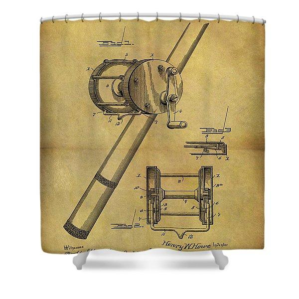 1899 Fishing Reel Patent Shower Curtain