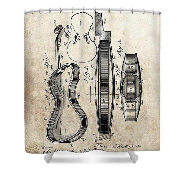 1899 Violin Patent Illustration Shower Curtain