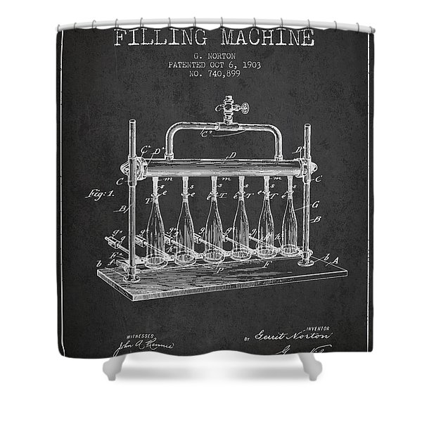1903 Bottle Filling Machine Patent - Charcoal Shower Curtain