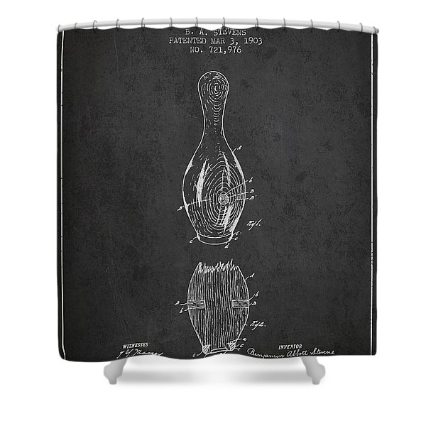 1903 Bowling Pin Patent - Charcoal Shower Curtain
