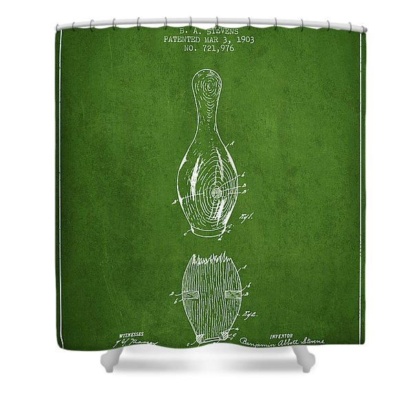 1903 Bowling Pin Patent - Green Shower Curtain