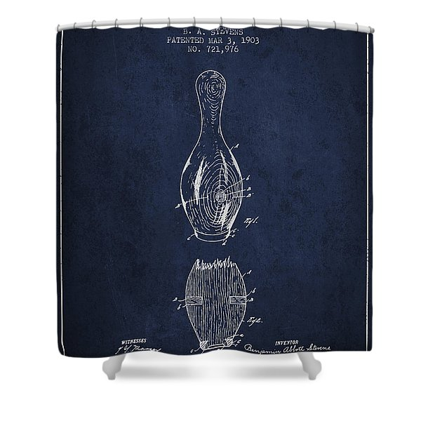 1903 Bowling Pin Patent - Navy Blue Shower Curtain
