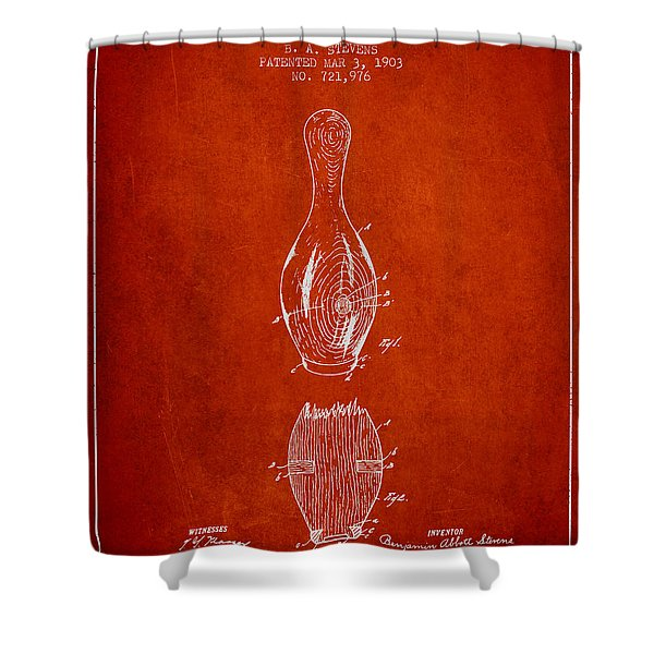1903 Bowling Pin Patent - Red Shower Curtain