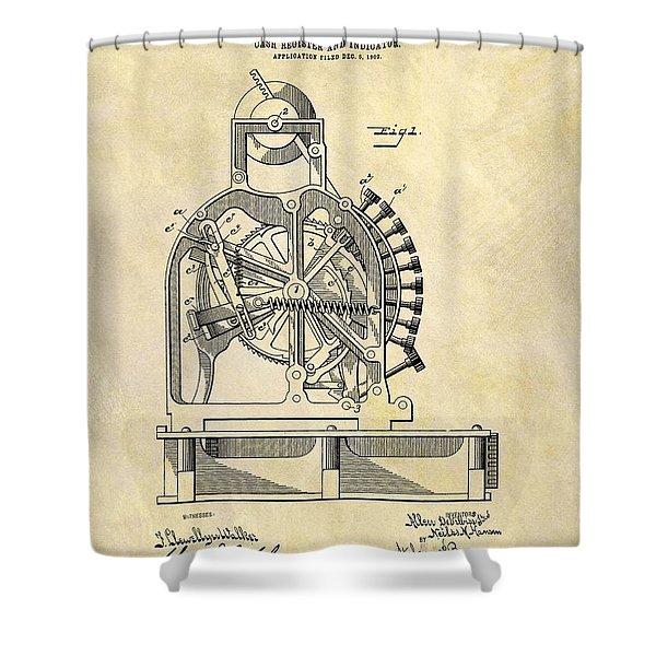1903 Cash Register Patent Shower Curtain