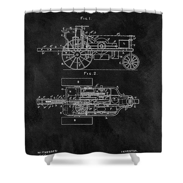 1903 Tractor Blueprint Patent Shower Curtain