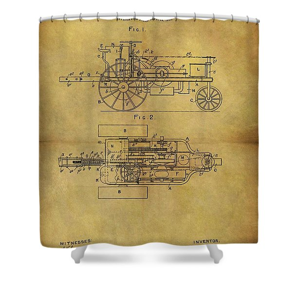 1903 Tractor Patent Shower Curtain