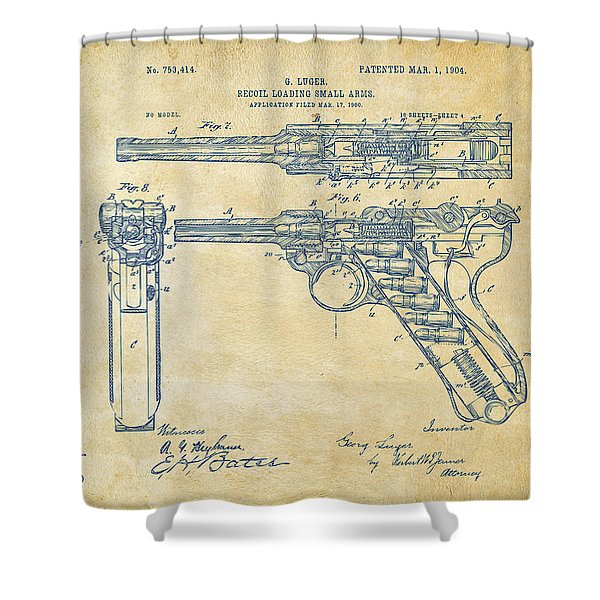 1904 Luger Recoil Loading Small Arms Patent - Vintage Shower Curtain