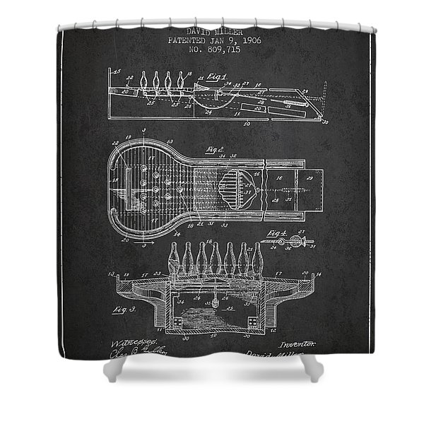 1906 Bowling Alley Patent - Charcoal Shower Curtain