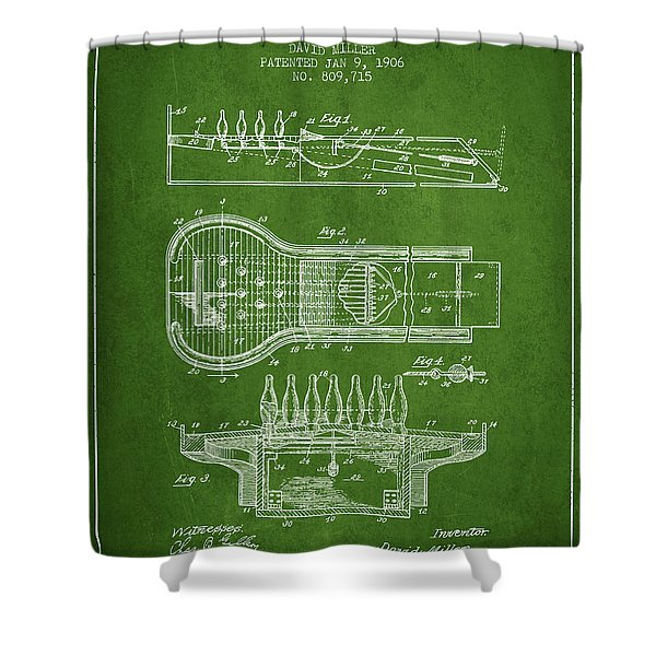 1906 Bowling Alley Patent - Green Shower Curtain