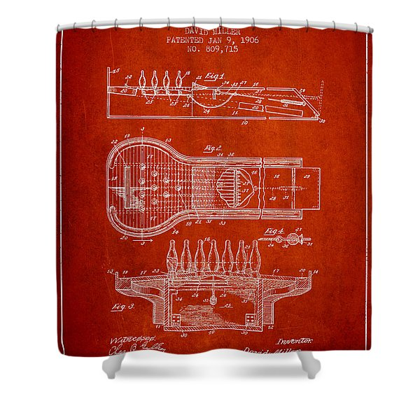 1906 Bowling Alley Patent - Red Shower Curtain
