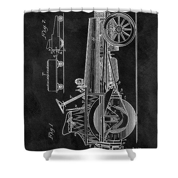 1907 Tractor Blueprint Patent Shower Curtain