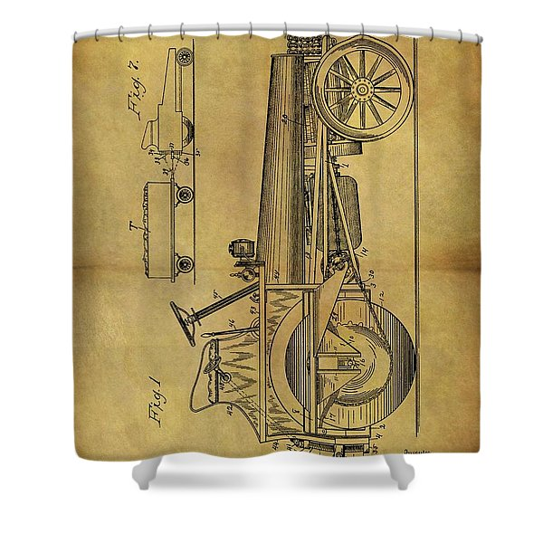 1907 Tractor Patent Shower Curtain