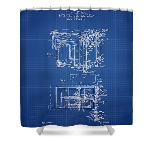 1910 Physicians Table Patent - Blue Print Shower Curtain