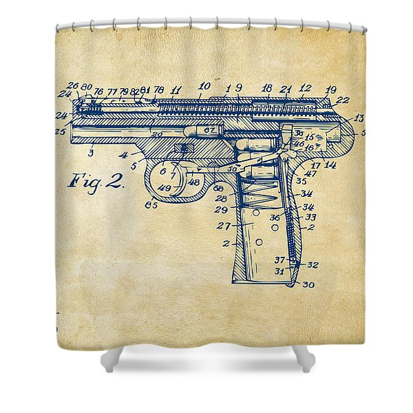 1911 Automatic Firearm Patent Minimal - Vintage Shower Curtain