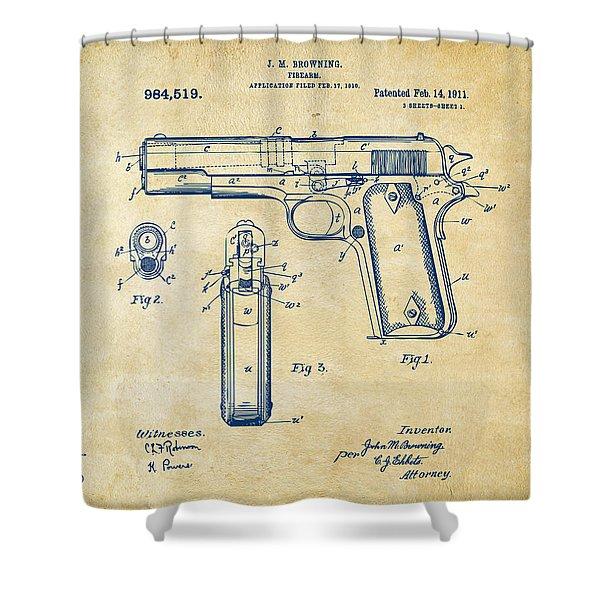 1911 Colt 45 Browning Firearm Patent Artwork Vintage Shower Curtain