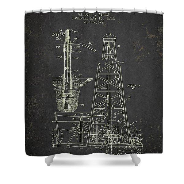 1911 Oil Drilling Rig Patent - Dark Grunge Shower Curtain