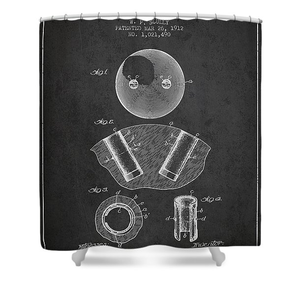 1912 Bowling Ball Patent - Charcoal Shower Curtain
