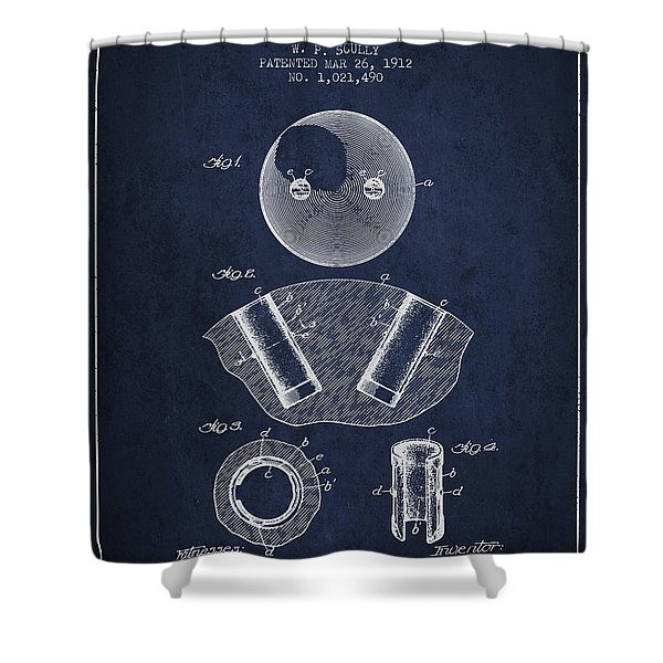 1912 Bowling Ball Patent - Navy Blue Shower Curtain