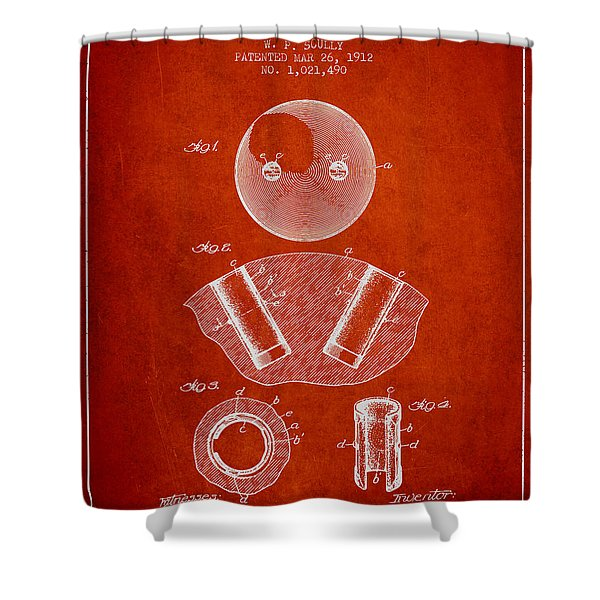 1912 Bowling Ball Patent - Red Shower Curtain