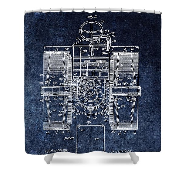 1916 Tractor Illustration Shower Curtain