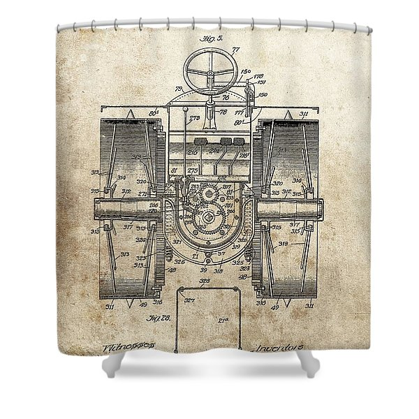 1916 Tractor Patent Shower Curtain
