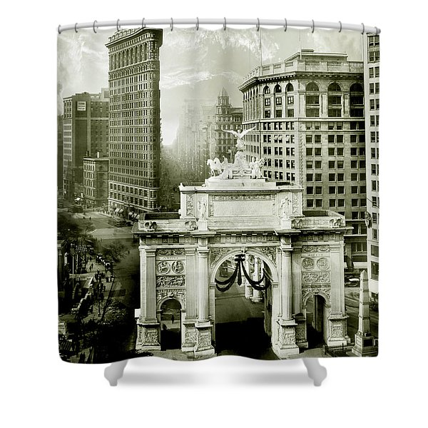1919 Flatiron Building With The Victory Arch Shower Curtain