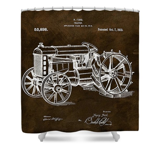 1919 Henry Ford Tractor Brown Shower Curtain