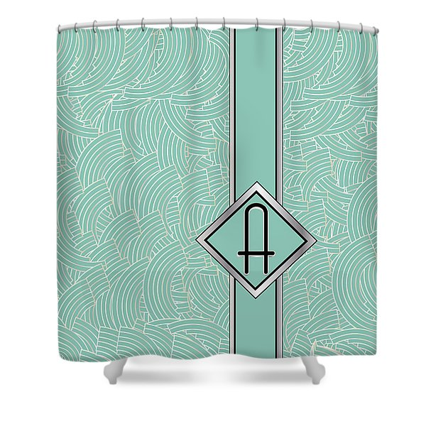 1920s Blue Deco Jazz Swing Monogram ...letter A Shower Curtain