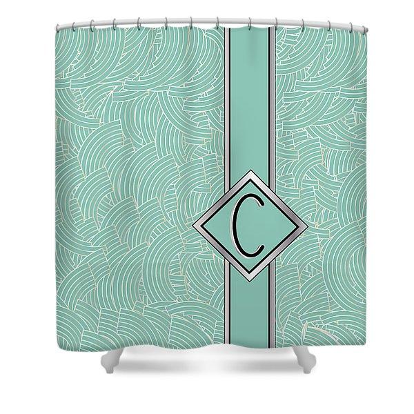 1920s Blue Deco Jazz Swing Monogram ...letter C Shower Curtain