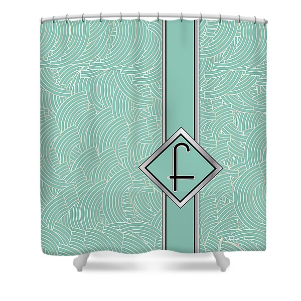 1920s Blue Deco Jazz Swing Monogram ...letter F Shower Curtain